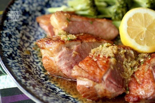 Magret grillé, sauce wasabi-gingembre